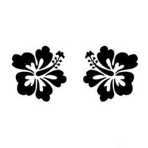 2 x auto aufkleber hibiskus bl te schwarz blumen tattoo. Black Bedroom Furniture Sets. Home Design Ideas