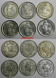Switzerland-Silver-LOT-OF-6-COINS-1950-1960-1-2-Franc-KM-23