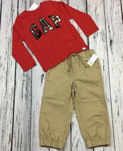 2T Outfit Nwt Baby Gap Boys 2 Red /& Plaid Gap Logo Shirt /& Tan Brown Pants
