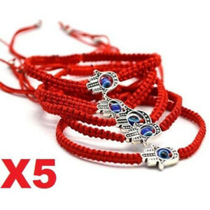 X5-Good-Luck-Kabbalah-BRACELET-Hamsa-Hand-of-GOD-Evil-Eye-Adjustable-Red-String