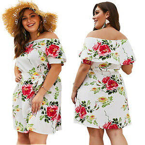 f4b7a63dbac Plus Size Women Floral Mini Dress Off the shoulder Sundress Party ...