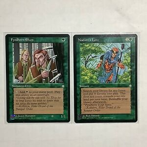 MTG-Magic-the-Gathering-Unplyd-Ice-Age-Green-Lot-x2-Fyndhorn-Elves-Nature-039-s-Lore
