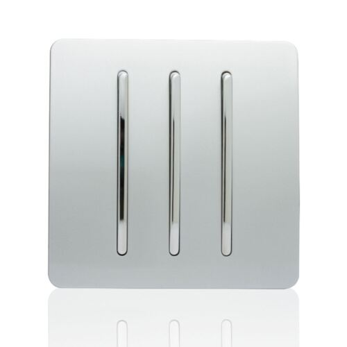 Trendi 3 Gang 1 Way artistique moderne 10 Amp Rocker Interrupteur De Lumière Argent ART-SS5SI