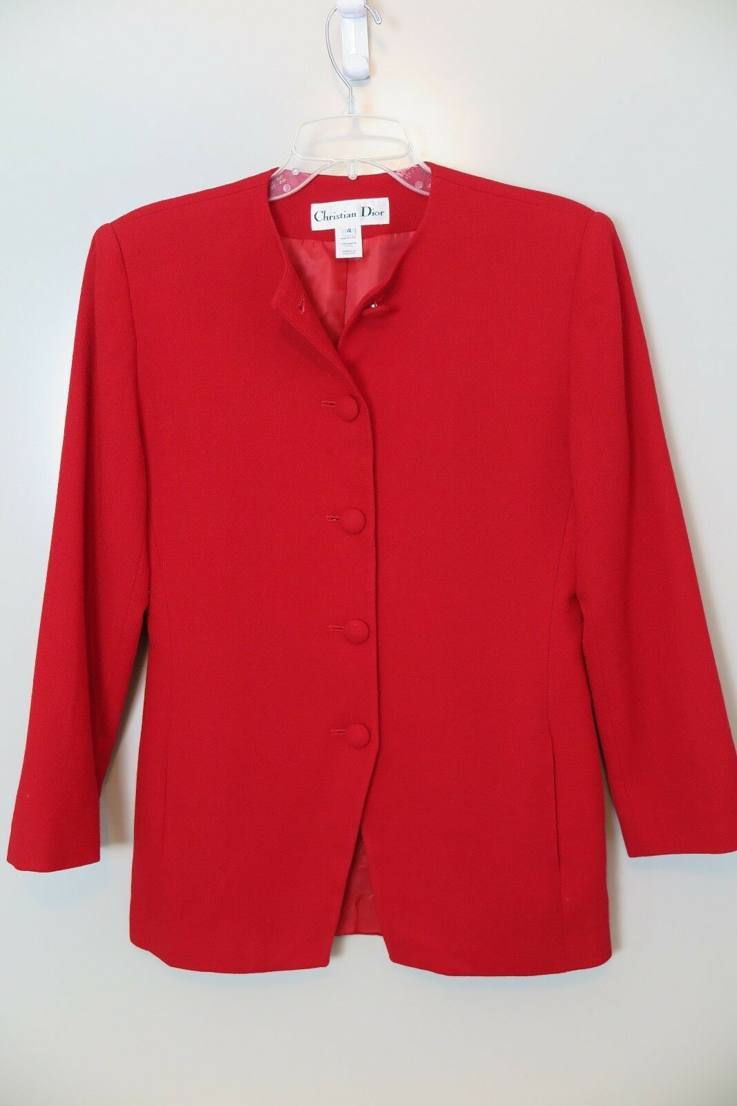 CHRISTIAN DIOR Red Wool Fully Lined Coat Size 4 Made in USA.
