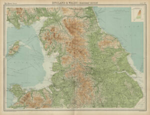 Map Of England Lake District.Details About Northern England N Wales Pennines Lake District Yorkshire The Times 1922 Map
