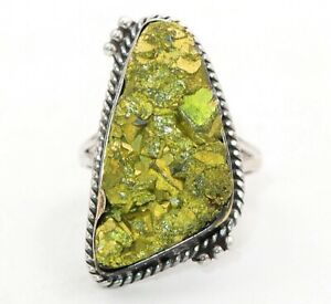 Natural Golden Pyrite Druzy 925 Sterling Silver Ring Jewelry Sz 7.5, ED23-8