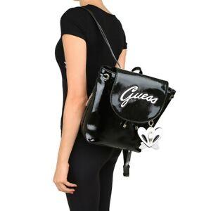 BNWT-GUESS-VARSITY-POP-Backpack-Shoulder-Bag-Satchel-Black-Shine