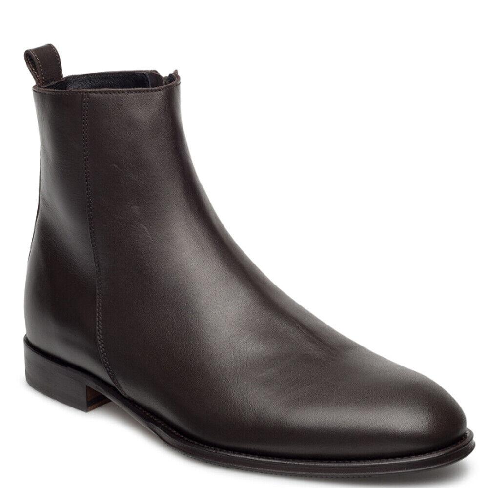J. LINDEBERG Men's Dark Brown Eng Zip Italian Calf Boots  495 NWOB
