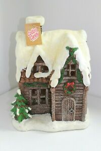 NEW-COTTON-CANDY-CHRISTMAS-WINTER-RESIN-SOLAR-HOUSE-XFV611