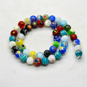 15.5 Mixed Round MILLEFIORI Glass BEADS - Choose 4MM, 6MM & 8MM 10MM 12MM