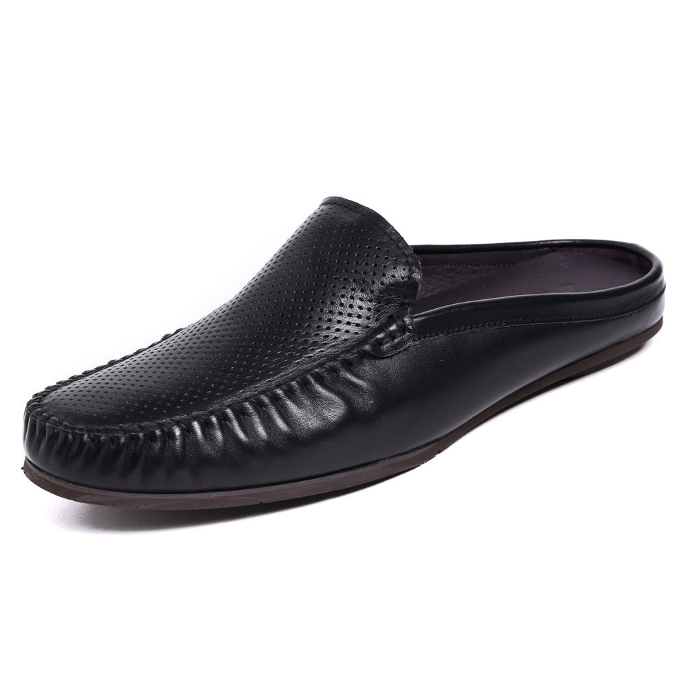 New Men's Genuine Leather Sandals Slippers Casual shoes Slip on Flip Flops ZT001