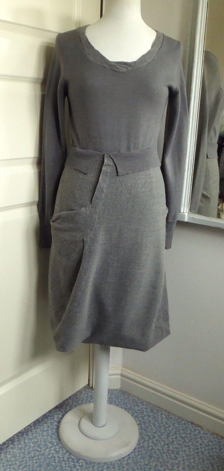 CREA CONCEPT Kleid Bubble Hem 2 in1 Jumper Look Wolle Mix Lagenlook Arty 38 UK 10