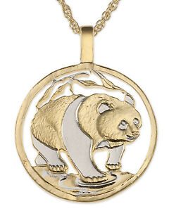 panda bear pendant amp necklace chinese coin hand cut 11