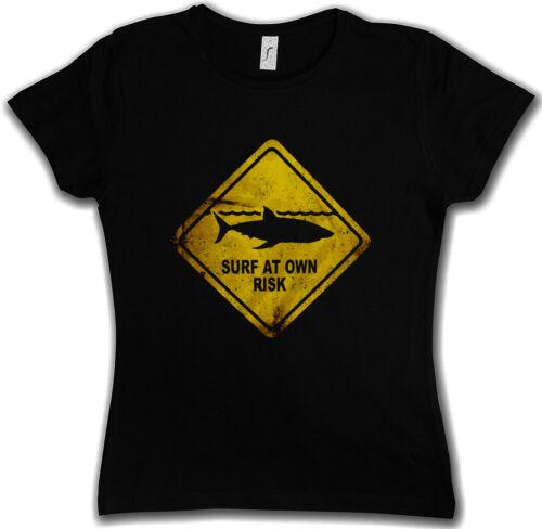 Shark Warning Sign T-shirt Femmes Surfer Diver Grand Requin Blanc Logo danger Bouclier
