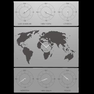 Cartina Fusi Orari Mondo.V Cosmo Orologio Da Parete Design Planisfero Cartina Mondo Fusi Orari Legno Allu Ebay