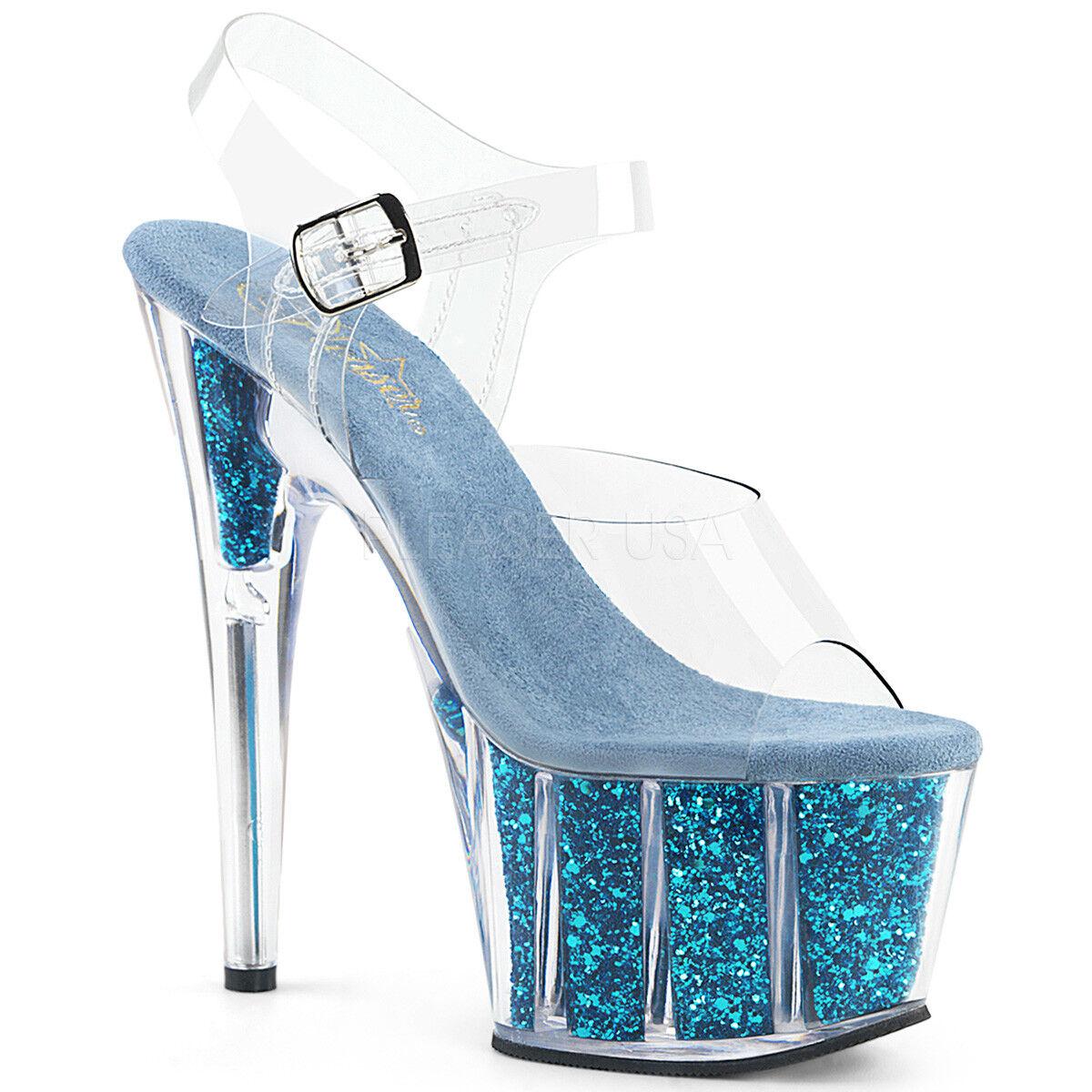complet dans les spécifications chaussures authentiques personnalisé PLEASER Sexy 7 Talon Paillettes rempli Plateforme danseuse ...