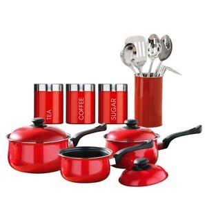 12 Piece Kitchen Starter Set Tea Coffee Sugar Saucepan Utensil