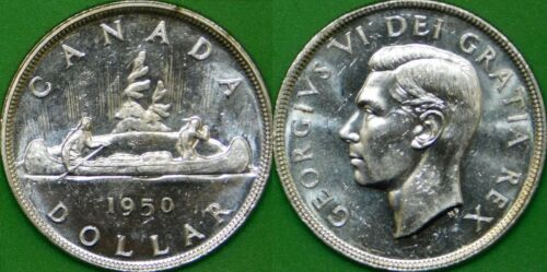 1950 Canada Silver Dollar Graded as Brilliant Uncirculated
