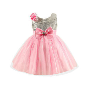9d2f15c81c95 Baby Pink Silver Sparkle Bow Princess Style Flower Girl Party Dress ...