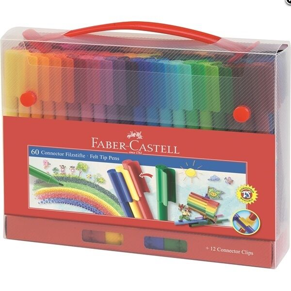 Faber Castell 60 Connector Pen Washable Ink Marker 60 colours Gift Box