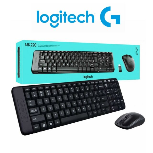 Wireless Keyboard and Mouse Logitech MK220 Combo Bundles for Laptop Desktop USB
