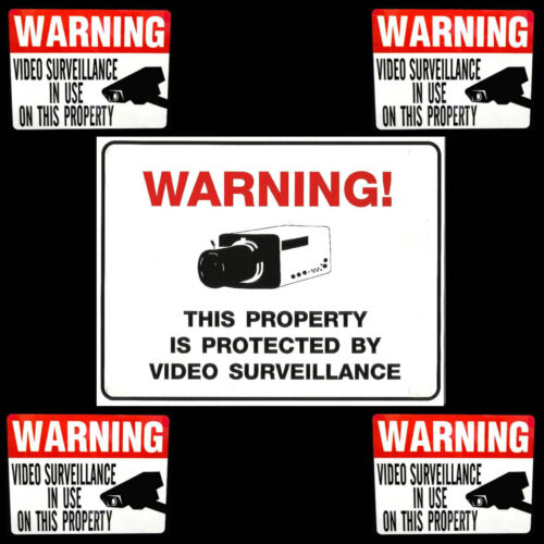 HOME SECURITY SYSTEM ALARM SPY VIDEO CAMERA IN USE WARNING SIGN+STICKER LOT