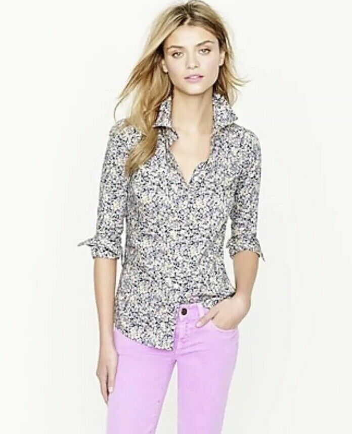 J Crew damen's Liberty Perfect shirt in Floral Wiltshire Button Up Shirt Sz 00