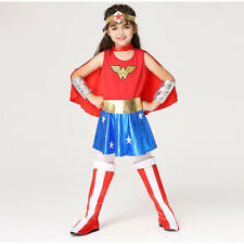 Child Wonder Woman Costume For Girls Kids Red Halloween Superhero 6PC Full Suit