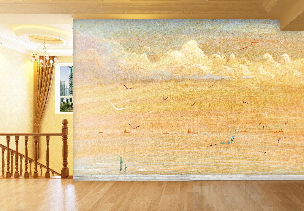 3D Seagulls Beach 75 Wall Paper Murals Wall Print Wall Wallpaper Mural AU Summer