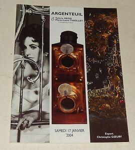 CATALOGUE de VENTES ARGENTEUIL 2004 : PHOTOGRAPHIE - PRE-CINEMA - MATERIEL
