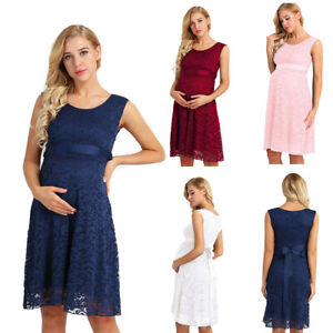 Pregnant Women Lace Maternity Dress Baby Shower Party Cocktail Short