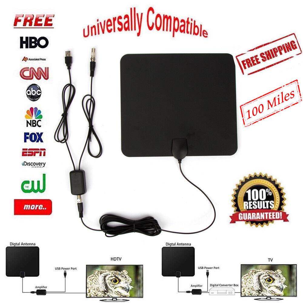 100 Mile Digital TV Antenna Range Amplifier 1080P HDTV Indoo