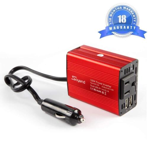 150W Car Power Inverter Charger 12V DC to 110V AC Converter with 3.1A Dual USB