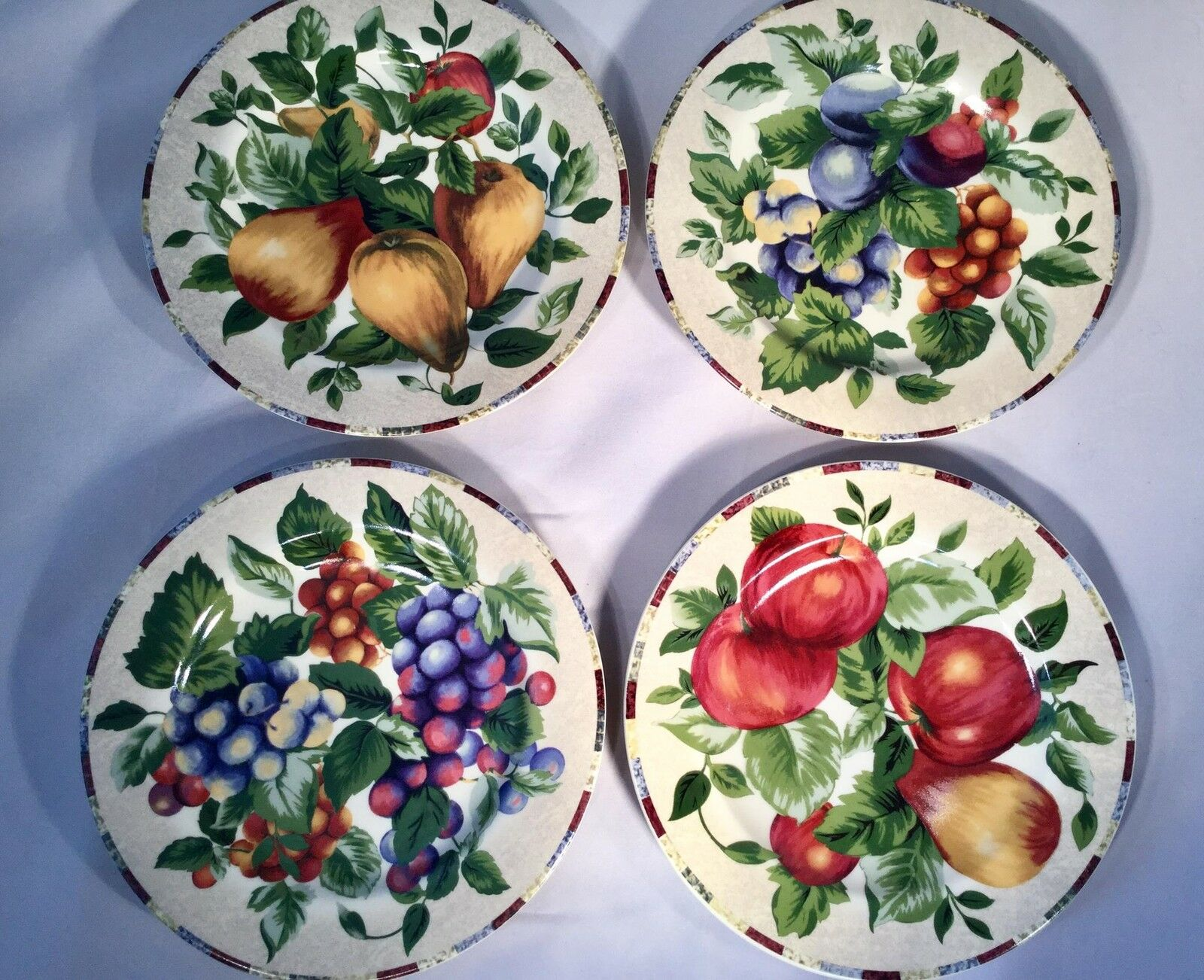 Set of 8 Fruit Sakura Sonoma Excell Grapes Apples Plums Pears 8  Salad Plates