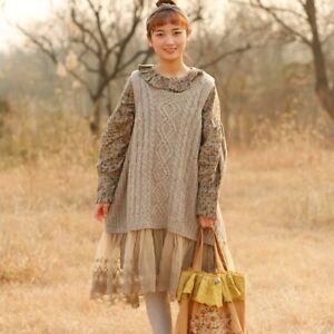 Bohemian Knit Old Maglia Wool Vintage Shabby Retro Irish Chic pullover Mori w78qXP7v