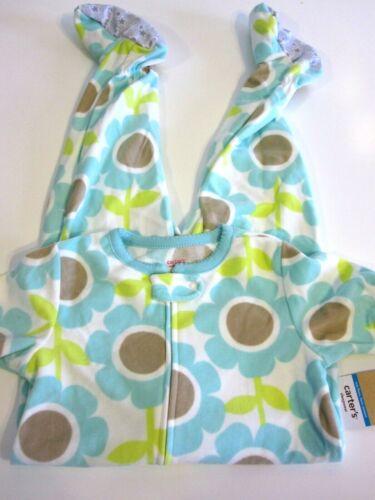 Carter/'s Girl Fleece Pajama Sleeper Size 18 Months Aqua Lime Brown