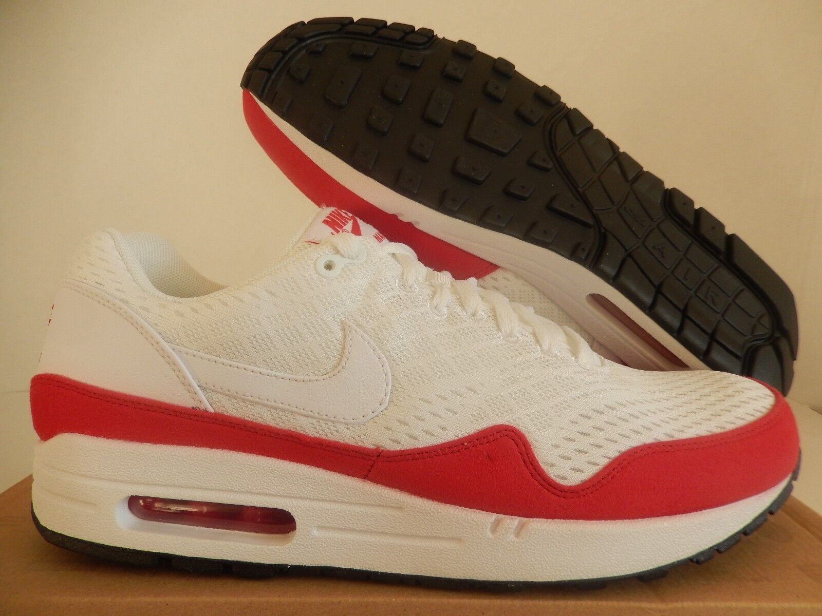 Nike air max 1 em maglie white-university red sz 10 raro!- 554718-161]