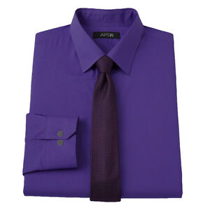 New-APT-9-Men-039-s-Slim-Fit-Spread-Collar-Dress-Shirt-Purple-Skinny-Tie-MSRP-55