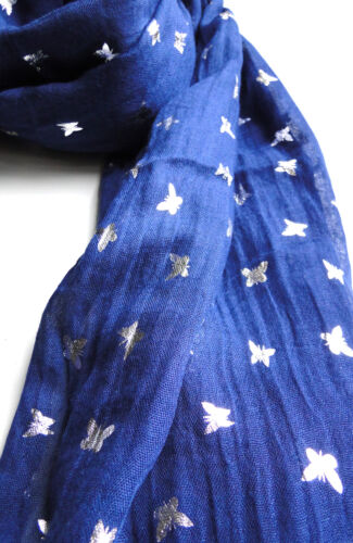 The Olive House® Womens Silver Shimmer Butterflies Scarf Blue