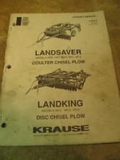 Krause Landsaver Landking Disc Coulter Chisel Plow Operator Manual Parts Catalog