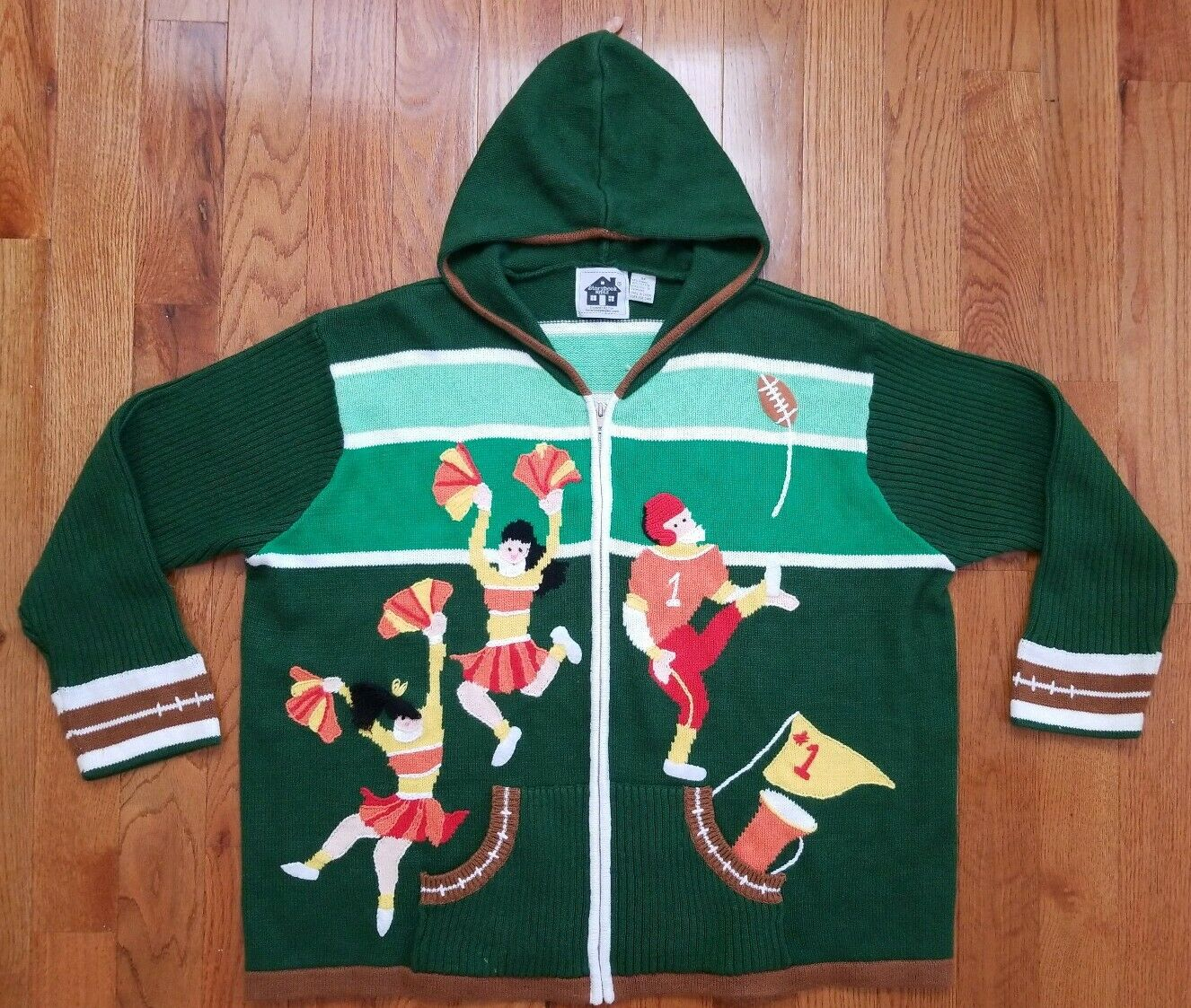 Storybook Knits HSN Football Players Cheerleading Hooded Sweater Size 3XL