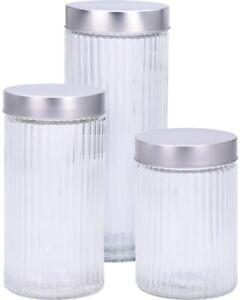 Set-Of-3-Large-Glass-Storage-Jars-Pasta-Tea-Coffee-Sugar-2-1-5-amp-1-Litre-Set