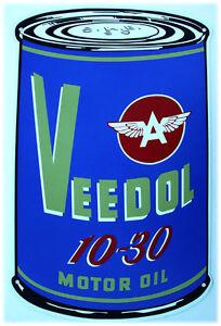 Veedol 10 30 Motor Oil Can Metal Sign Ebay