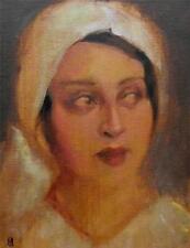 "The White Hat :Nostalgic Lady Original Oil Painting by Nigel Mason 10"" X 8"""