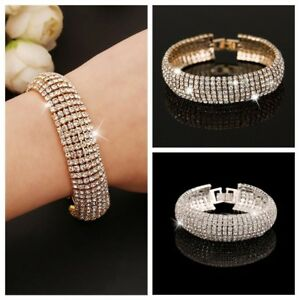 Diamante-Women-Cuff-Bangle-7-Row-Crystal-Bracelet-Chain-Gold-NewJewelry