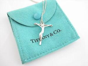 f63a10393 Tiffany & Co Silver LARGE Elsa Peretti Crucifix Christ On Cross 18 ...