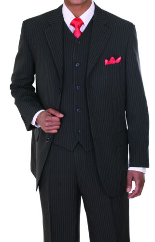 Men/'s Basic Three Button Striped Suit w// Vest 802V Black Gray Charcoal Navy