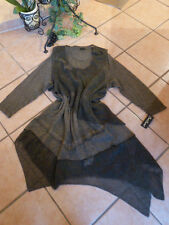 SARAH SANTOS Zipfel Kleid + Tunika 38 40 S NEU! schlamm Strick Wolle LAGENLOOK
