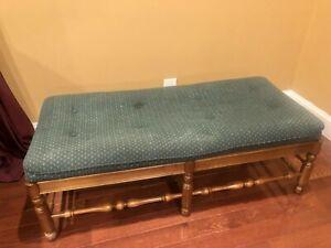 LARGE-VINTAGE-ETHAN-ALLEN-46-034-Solid-Oak-Wood-UPHOLSTERED-BENCH-END-OF-BED-BENCH