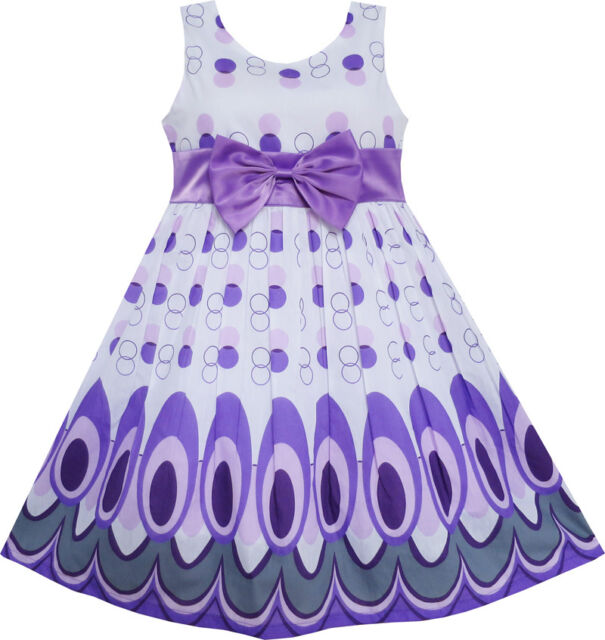 Sunny Fashion Girls Dress Peacock Tail Dot Purple Party Birthday Size 4-12